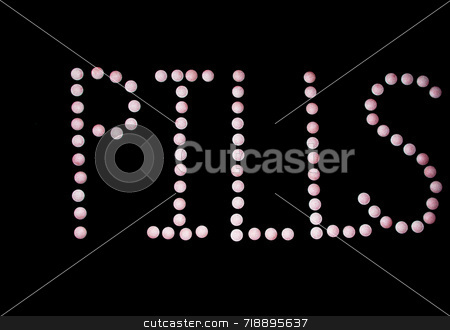 Pills Made Of Pills stock photo, The word pills spelled out with tablets by Philippa Willitts