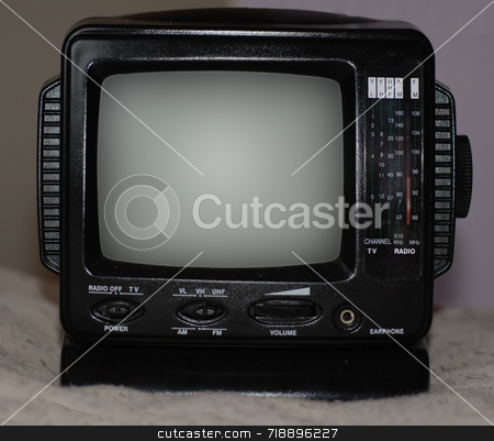 Miniature Television and Radio stock photo, A miniature radio / TV set with dials by Philippa Willitts