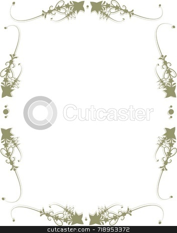 Brown Star Frame stock photo, Decorative brown frame with stars and scrolls by Maria Bell