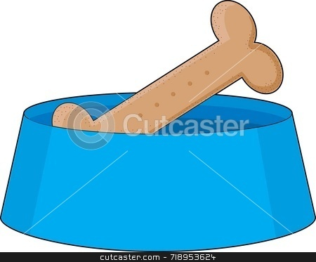 Dog Bone in Bowl stock photo, A dog bone or biscuit in a blue bowl by Maria Bell
