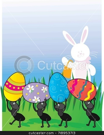 Easter Ants stock photo, A group of ants carrying Easter Eggs while the Easter Bunny looks on by Maria Bell