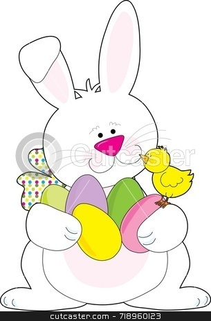 Easter Bunny stock photo, A white Easter Bunny holding lots of Easter eggs by Maria Bell