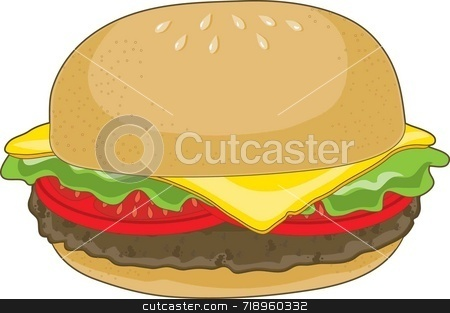 Hamburger stock photo, A single hamburger with cheese and tomatoes on a white background. by Maria Bell