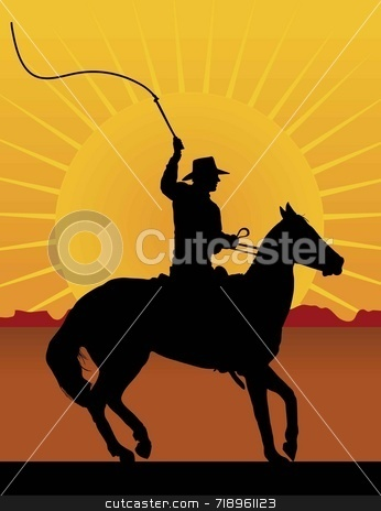 Horseman with Whip stock photo, Silhouette of a horseman cracking a whip with a sunset/sunrise in the background by Maria Bell
