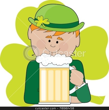 Leprechaun and Beer stock photo, A leprechaun holding a big stein of beer and wearing a bowler hat with a shamrock on it by Maria Bell