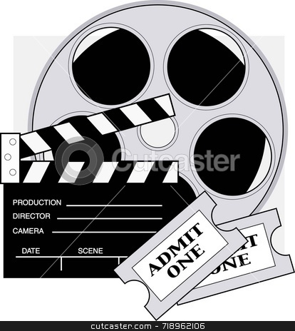 Movie Tickets stock photo, Clapboard,movie reel and admission tickets for the movies. by Maria Bell