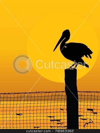 Pelican Sunset stock photo, Black silhouette of a pelican against a sunrise/sunset by Maria Bell
