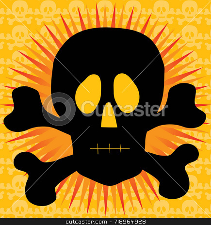 Skull and Crossbones in front of sun stock photo, Silhouette of a skull and crossbones on a patterned background by Maria Bell