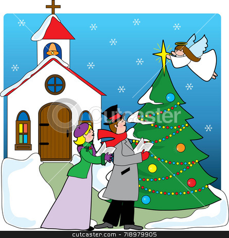 Church Carolers stock photo, A pair of carolers singing in front of a church with a Christmas tree and angel placing a star on top of the tree by Maria Bell