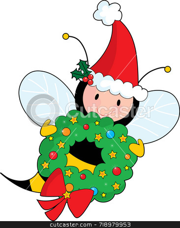 Bee Christmas stock photo, A bee holding a Christmas wreath and wearing  a Santa hat by Maria Bell