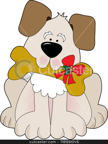 Christmas Puppy stock photo, A cute little puppy holding a bone with a Christmas bow on it by Maria Bell