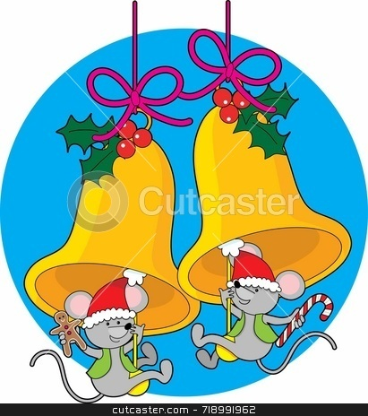 Christmas Bell Mice stock photo, Two little mice swinging on the clappers of Christmas bells by Maria Bell
