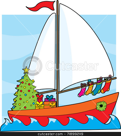 Christmas Sailboat stock photo, A sailboat with a Christmas tree,presents and stockings hanging from the sail by Maria Bell