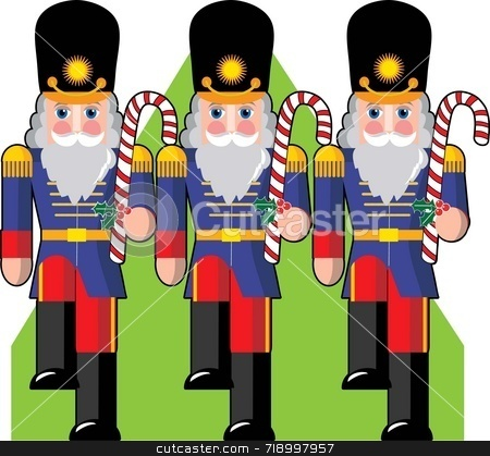 Toy Soldiers stock photo, Toy soldiers marching ina row holding candy canes instead of guns by Maria Bell