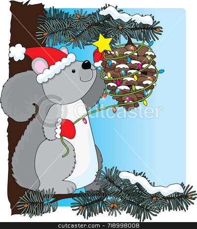 Squirrel Christmas stock photo, A squirrel decorating a pinecone for Christmas by Maria Bell