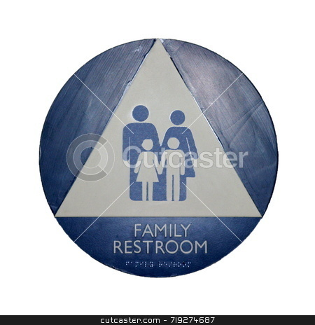 Family Room stock photo, A blue, white, and gray restroom sign for families by Henrik Lehnerer