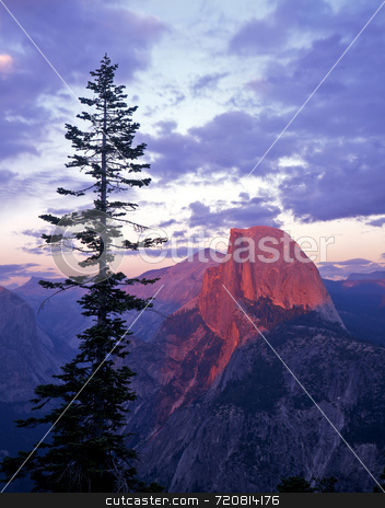 Half Dome Glacier Point stock photo, Half Dome photographed from Glacier Point in Yosemite National Park, California. by Mike Norton
