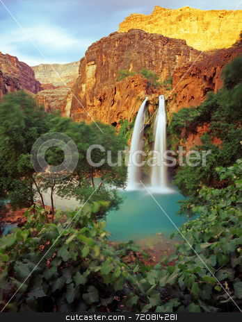 Havasu Falls stock photo, Havasu Falls on the Havasupai Indian Reservation, in the Grand Canyon, Arizona. by Mike Norton