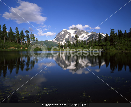 Mt. Shuksan stock photo, Mt. Shuksan ferlecting in Picture Lake in the Mt. Baker Wilderness, Washington State. by Mike Norton