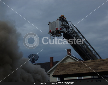 Tower Ladder in Operation stock photo,  by Mark Bernas