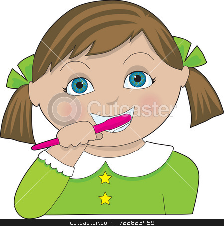 Girl Brushing Teeth stock photo, A little girl with pigtails brushing her teeth by Maria Bell