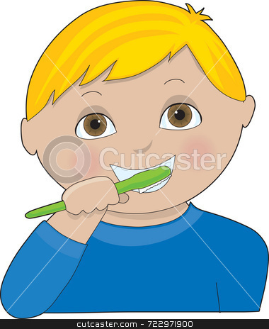 Boy Brushing Teeth stock photo, A little boy with pigtails brushing her teeth by Maria Bell