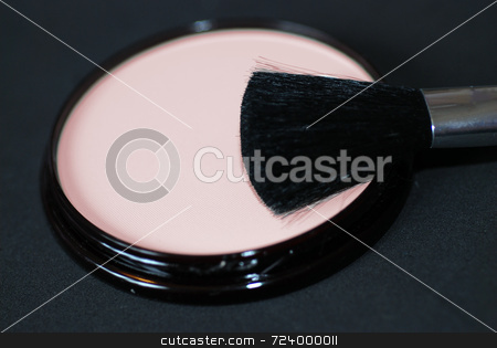 Face Powder with Applicator Brush stock photo, A close-up of cosmetics face powder or foundation with an applicator brush by Philippa Willitts