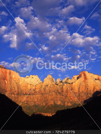Towers Of The Virgin  stock photo, Towers of the Virgin in Zion National Park, Utah. by Mike Norton