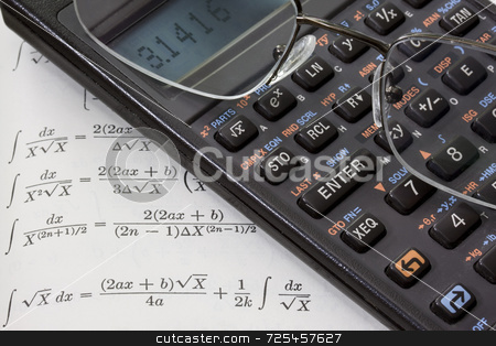 Scientific calculator, reading glasses, math book background stock photo, Scientific calculator with pi number on a display and reading glasses against math text book with integral tables. These are real devices, not props, showing some wear and dust. by Marek Uliasz