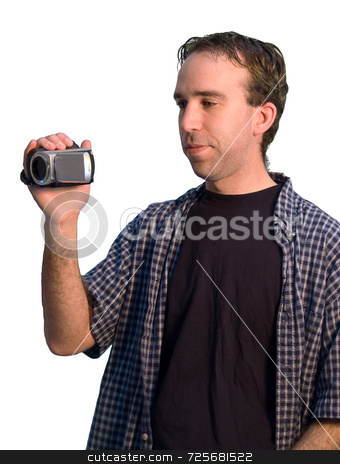 Man With Camcorder stock photo, A young man holding a camcorder isolated on a white background by Richard Nelson