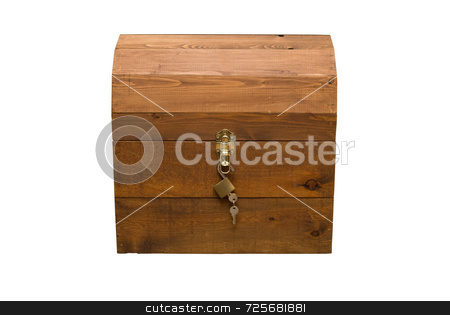 Isolated Wooden Chest stock photo, An isolated wooden treasure chest with keys hanging in front by Richard Nelson