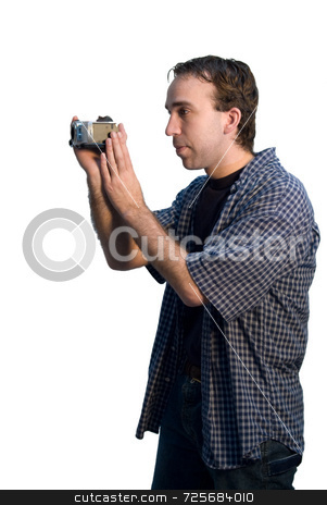 Man Videotaping stock photo, A man isolated against a white background, videotaping by Richard Nelson