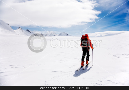 Alpine Touring stock photo, Lone Alpine Touring Skier on the big Verra Glacier; in background the peaks of Castore and Polluce. MonteRosa, Swiss-Italy border. by ROBERTO CAUCINO