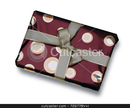 Gift in red wrapping stock photo, Present wrapped in red paper with golden ribbon by Ronald Hudson