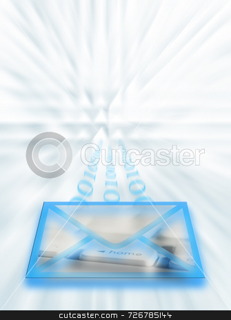 Internet mail stock photo, Conceptual illustration representing electronic mail over the internet. by Ronald Hudson