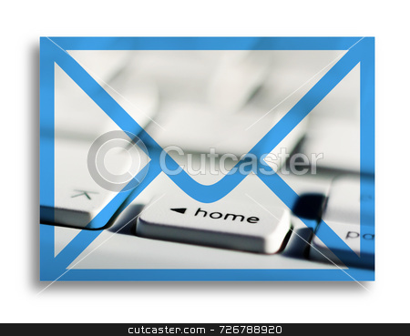 Electronic mail stock photo, Conceptual illustration of envelope shape overlaid onto computer keyboard by Ronald Hudson