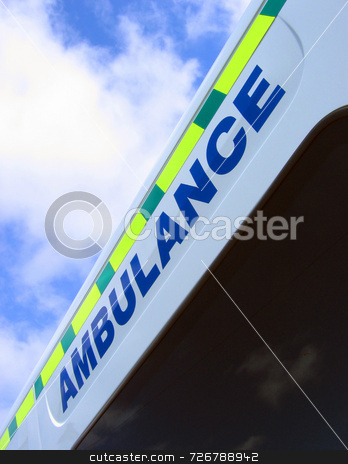 Emergency aid stock photo, Close-up of ambulance sign against cloudy sky by Ronald Hudson