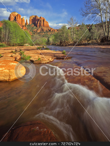 Cathedral Rock 1 stock photo, Cathedral Rock in Oak Creek Canyon in the Coconino National Forest, Arizona. by Mike Norton