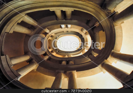 Spiral Staircase stock photo, A view looking up the center of a spiral staircase by Kevin Tietz