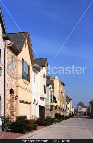 Urban Neighborhood stock photo, An urban neighborhood where the homes are close together by Kevin Tietz