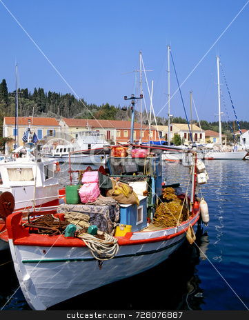 Fishing Boat stock photo, Greek fishing boat in the port of Fiscardo on the island of Kefalonia by Paul Phillips