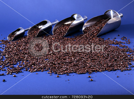 Coffee beans stock photo, Coffee beans and scoops by Paul Phillips