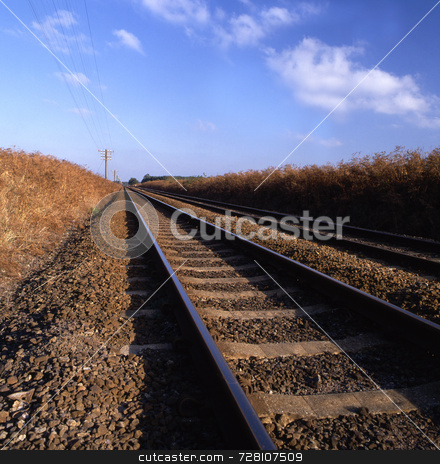 Rail track going into infinity stock photo, Rail track going into infinity by Paul Phillips