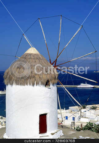 Mykonos windmill stock photo, Windmill on the greek island of Mykonos by Paul Phillips