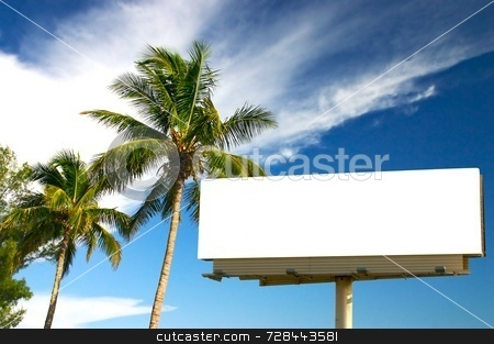 Two Palm trees and billboard stock photo, Tropical palm trees and a billboard in the late afternoon sun. The golden hour. Advertise your holiday specials! by Mitch Aunger