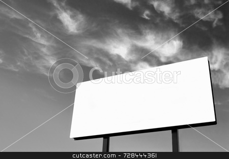 Black and White Billboard with wispy sky stock photo, Brand new billboard and a wispy sky - B&W version - the sun was on the left in the background sky giving a lighter left side of the image. by Mitch Aunger