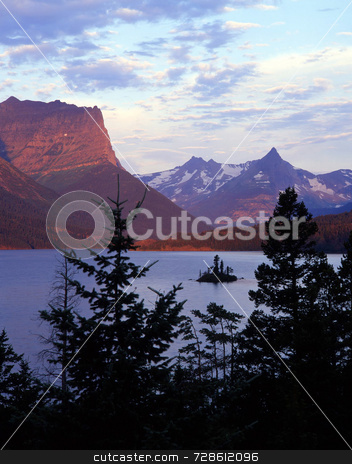 Wild Goose Island Sunrise(V) stock photo, Wild Goose Island in St. Mary Lake located in Glacier National Park, Montana. by Mike Norton