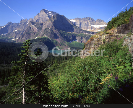Mt Gould & Grinnell Lake stock photo, Mt. Gould & Grinnell Lake in Glacier National Park, Montana. by Mike Norton