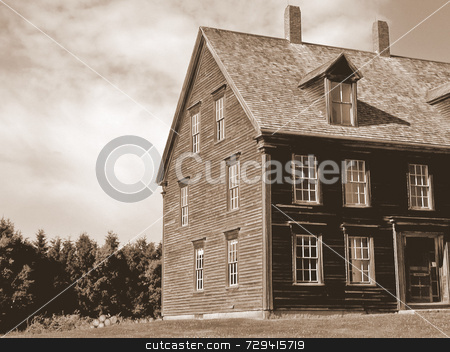 An early 19th century house in the country stock photo,  by Tom and Beth Pulsipher