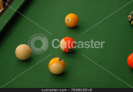 Pool stock photo, A game of pool with a balls on the table by Tim Markley